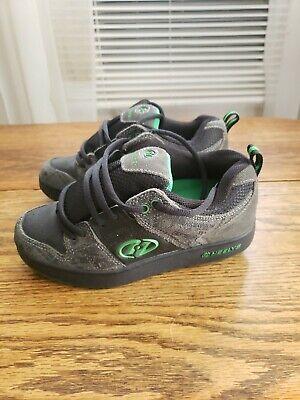 Heelys Black Gray Green Sneakers w/ Roller Wheels Skate Shoes Boys Size 3 Youth