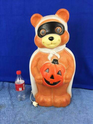 "Empire Halloween Blow Mold Masked Bandit Teddy Bear Pumpkin 23"" Yard Decor"