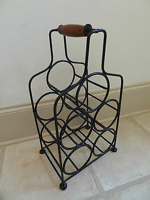 Vintage metal wine bottle holder rack