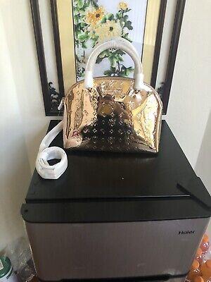 NWT MICHAEL KORS  METALLIC Rose GOLD EMMY  Large DOME SATCHEL TOTE  BAG