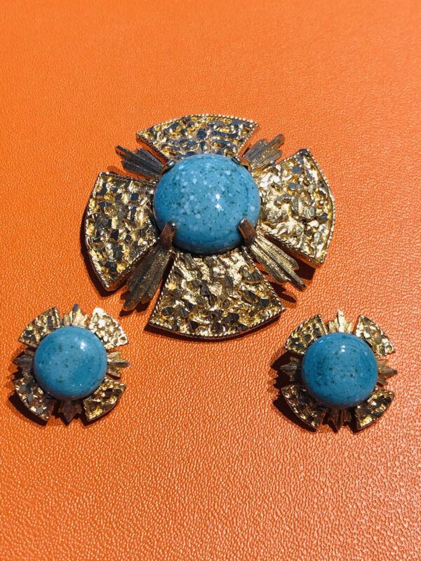 Vintage BSK Gold Plated Faux Turquoise Maltese Cross Earrings Brooch Set