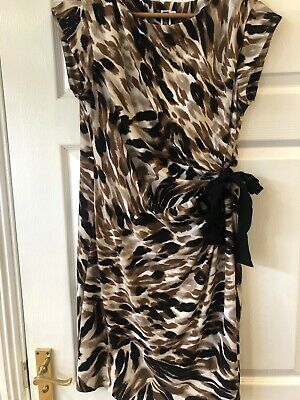 Womens JULIAN TAYLOR New York Faux Wrap Style Animal Print Summer Dress Uk 16