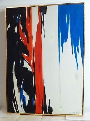 Vintage NONOBJECTIVE ABSTRACT EXPRESSIONIST OIL PAINTING Mid Century Modern 1969
