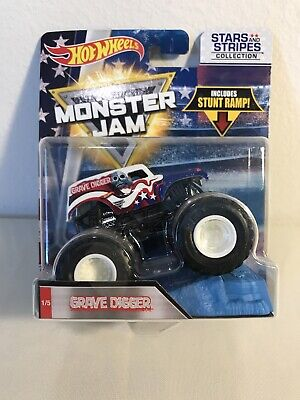 Hot Wheels MONSTER JAM GRAVE DIGGER Truck New Die-cast Toy Stars and Stripes