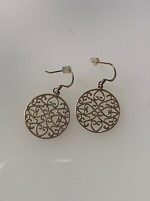 Vermeil Gold over Sterling Silver Cut Out Heart Circle Dangle Earrings Hook Vermeil Cut Out