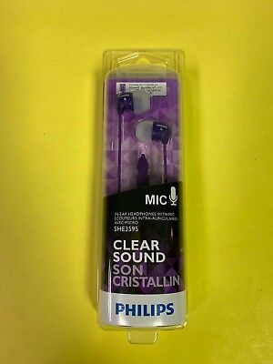 Philips Clear Sound Purple SHE3595PP In-Ear Headphones With Mic - NEW Sealed
