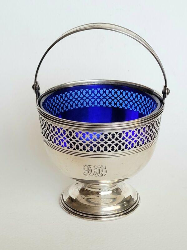 Vintage Tiffany & Co. Sterling Silver Art Deco Cobalt Footed Candy Dish Basket