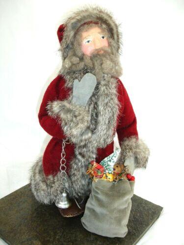 Santa, Handcrafted, Primitive, Woodland with Fur Trim, Leather Bag
