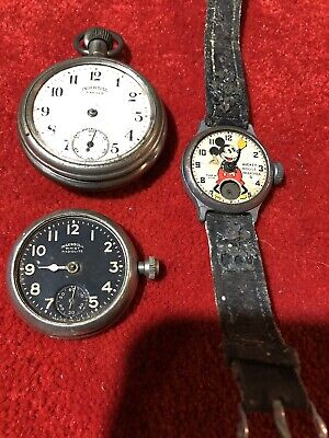 Two Old Ingersoll Pocket Watches & Old Ingersoll Mickey Mouse