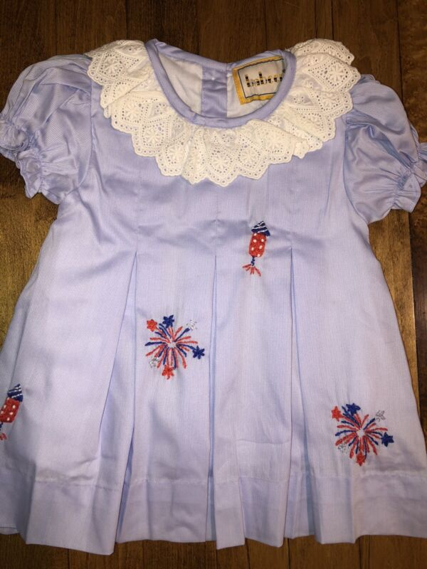 Boutique Dress W/ Embroidered USA Patriotic July 4th New 6