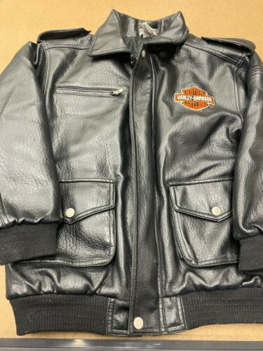 Harley Davidson Kids Black FAUX Leather Biker Jacket Size 12/14