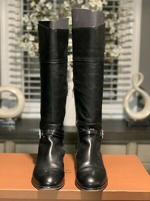 Tall Leather Boots (COACH Women's Black Leather MICHA TALL RIDING BOOTS ~WIDE CALF A6848 Size 11)
