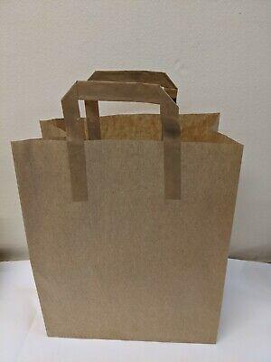 100 x Paper Bags Brown Kraft SOS Carrier Bags Flat Handle Large 25 x 30 x 14cm