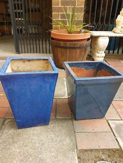 Outdoor glazed pots