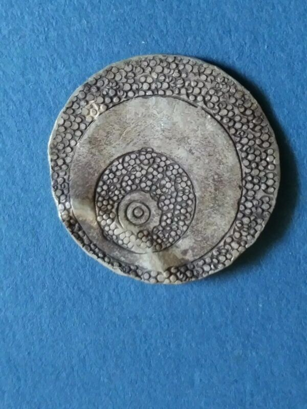 Norse hoard, Ancient Viking hammered large Silver Talisman - hand detail!