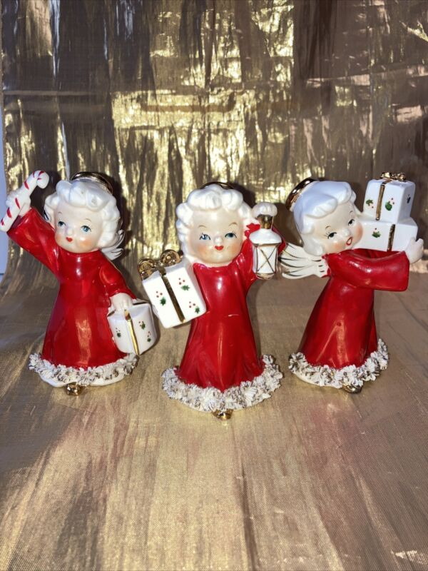 Vintage Ceramic Christmas Angel Girl Figurines Set of 3 Fine A Quality Japan