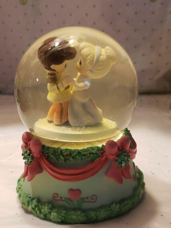 2007 Precious Moments Cinderella Prince Charming Wind-up Musical Snowglobe