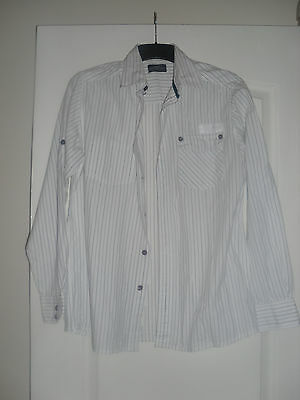 Men's Grey Connection White/Grey Striped Formal Shirt