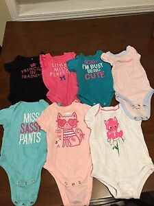 Infant bodysuits, short-sleeves, 3-6 mos
