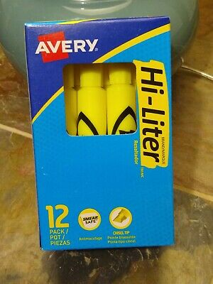 Avery Hi-liter Desk-style Highlighters Smear Safefluorescent Yellow Box Of 12