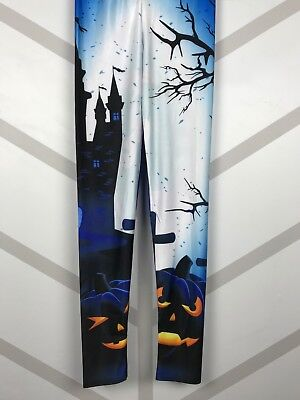 Halloween Leggings S-XL Haunted Castle Graveyard Creepy Trees FREE SHIPPING! - Halloween Haunted Castle