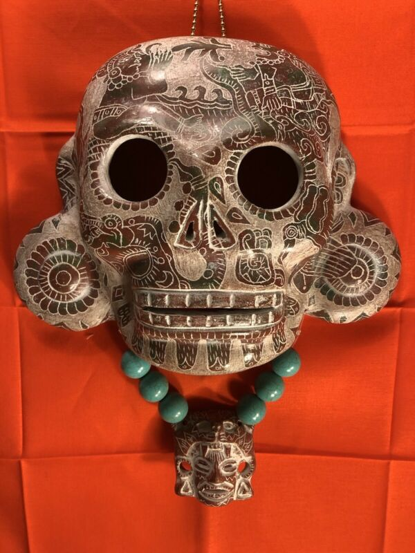 Aztec Pottery Clay Hand Crafted Wall MASK