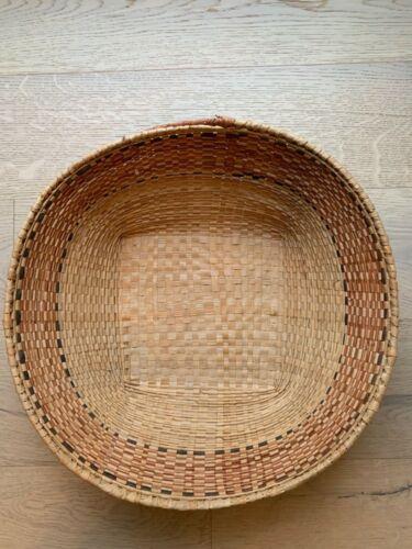 African Woven Basket Geometric Design Handmade VNTG