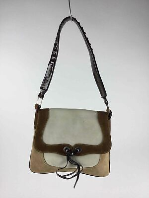 Francesco Biasia White Handbag (Francesco Biasia Brown Khaki Off White Suede Leather Flap Closure Shoulder)