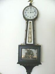 New Haven 42 Tall Banjo Clock, Two Ships in full battle on tablet,Time only.