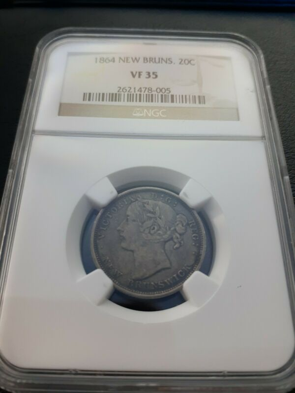 1864 New Brunswick Canada 20 Cents NGC VF 35