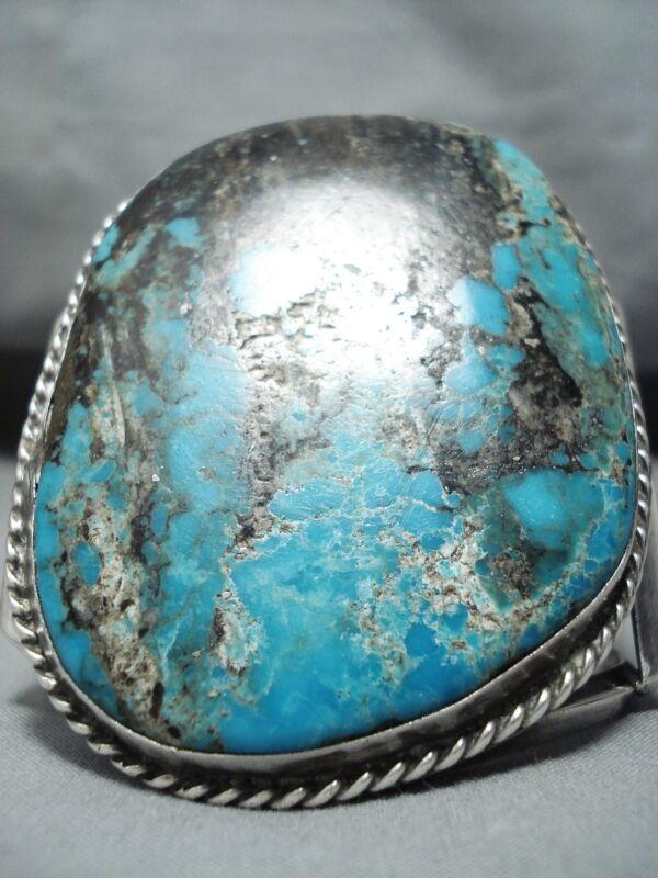 BEST BIGGEST VINTAGE NAVAJO BLUE DIAMOND TURQUOISE STERLING SILVER BRACELET