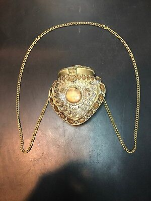 1920s Handbags, Purses, and Shopping Bag Styles Antique Brass Shoulder Purse With Three Stones And Original Chain.1920s-30s! $149.97 AT vintagedancer.com