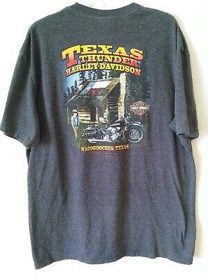 Texas Thunder Harley Davidson Nacogdoches TX Men's T Shirt Short Sleeve Gray XL  for sale  Houston