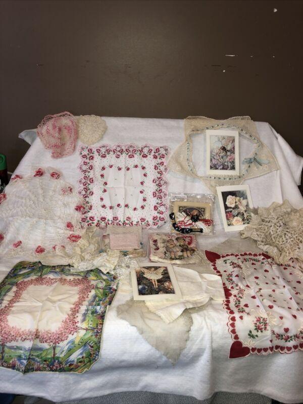 Antique Victorian Lace Pink Flower Pattern Linen Estate Sale Lot Hearts
