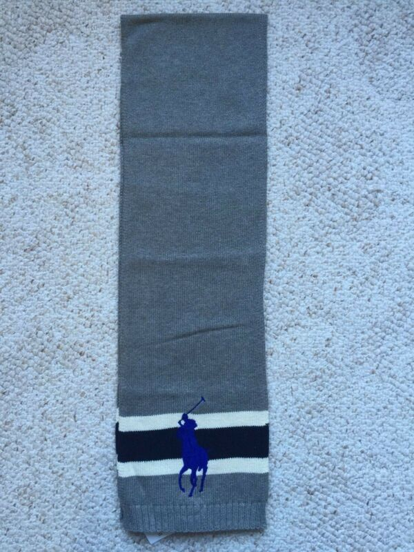 NWT Polo Ralph Lauren Boys Big Pony Striped Combed Cotton Scarf Size 8-20 Gray