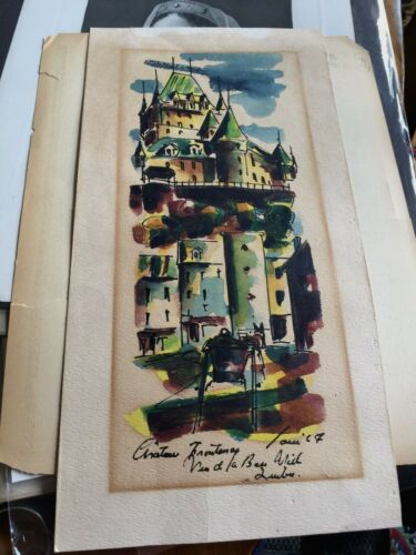 Hand Drawn/signed Watercolor Chateau d Frontenac Quebec Mid Century