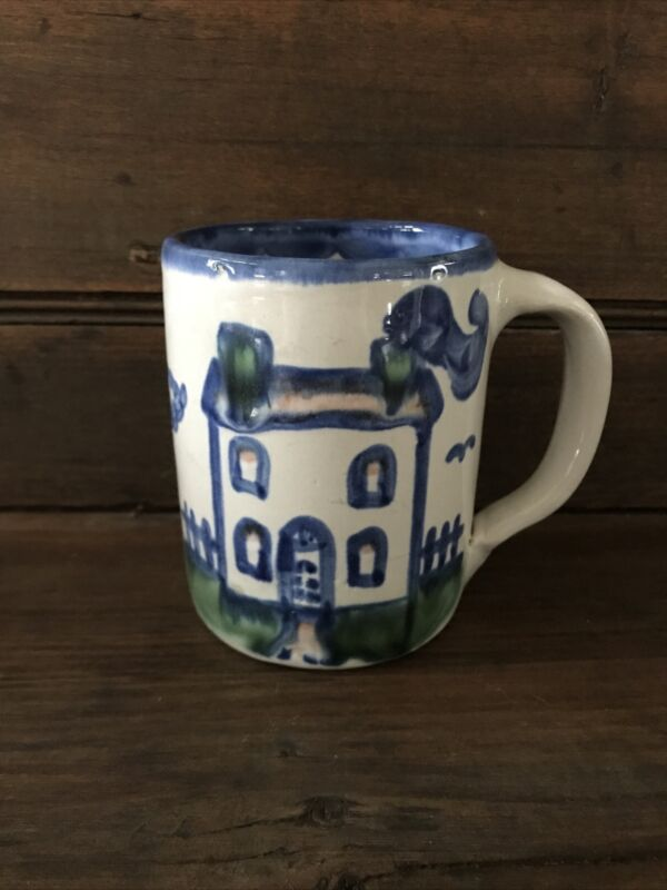 "M.A. Hadley FARM HOUSE Pottery Coffee Mug w/ ""All Gone"" Inside Signed on Bottom"