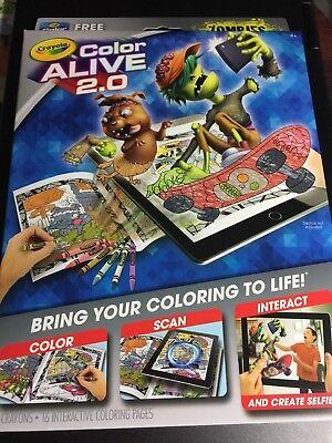 CRAYOLA ZOMBIES COLOR ALIVE 2.0 INTERACTIVE COLORING BOOK HALLOWEEN CHILD KIDS  (Zombie Halloween Book)