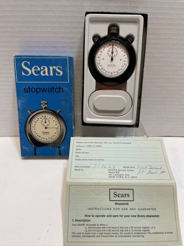 VINTAGE 1969 Swiss Made SEARS Shock Resistant 1/10th Mechanical Stopwatch CIB