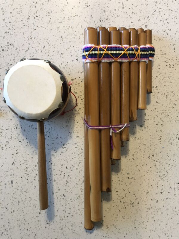 Set Of Two Peruvian Native Pan Flute 13 Pipes Handmade Bamboo And Drum Souvenir