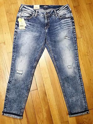 Silver Kenni Girlfriend Skinny Leg Jeans Mid Rise Distressed New With Tags
