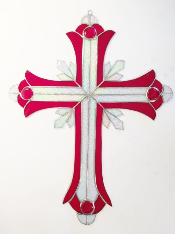 24 INCH HAND CRAFTED STAINED GLASS RED CRUCIFIX !! Stunning! HEIRLOOM   !