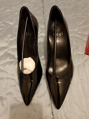 HOGL Black Patent Heels Shoes Stiletto size 4 37 in box