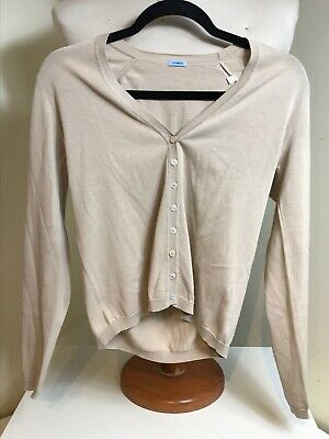 Malo Women's Cotton Button Down Long Sleeve Cardigan Sweater Cream Size 40 Small
