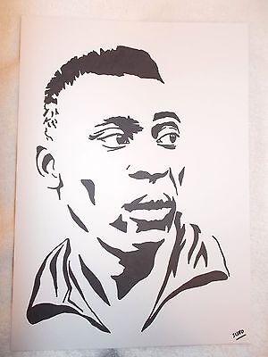 A4 Black Ink Marker Pen Sketch Footballer Pele