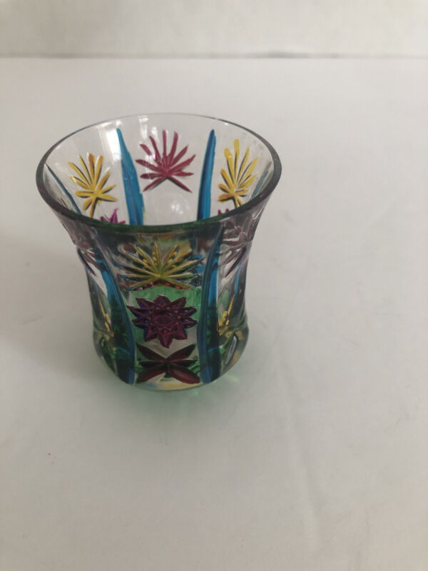 Vintage Murano Glass Italy Cut Glass Hand Painted Toothpick Holder