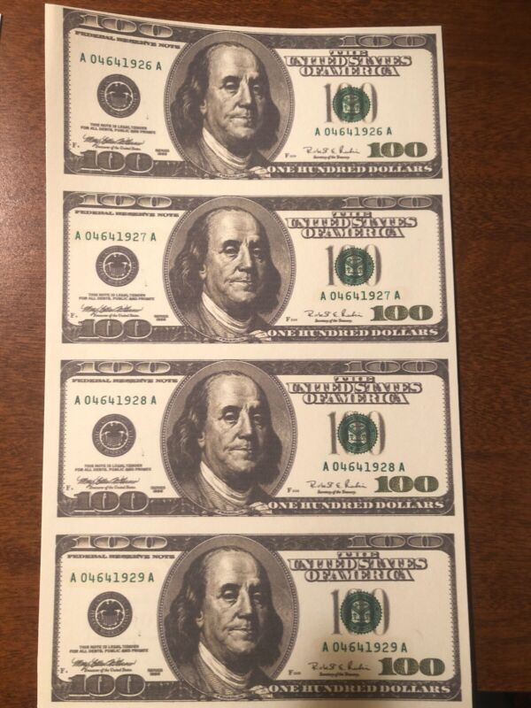 Copy 1996 $100 Uncut Reproduction Currency Money Sheet