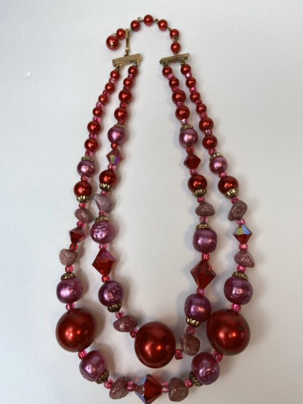 Vintage 1950's Necklace Pink Stone Red Plastic Molded Plastic Beads Multi Strand