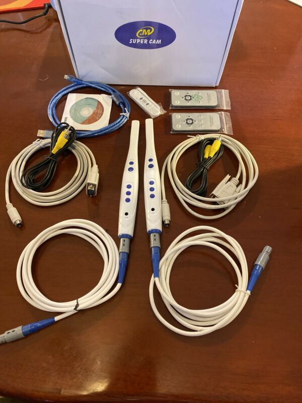 2 Super Cam Dental Wired Intra Oral Cameras CF-687 with Accessories.