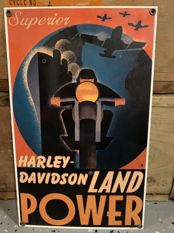 Harley-Davidson Superior Land Power Porcelain Sign motorcycle WLA